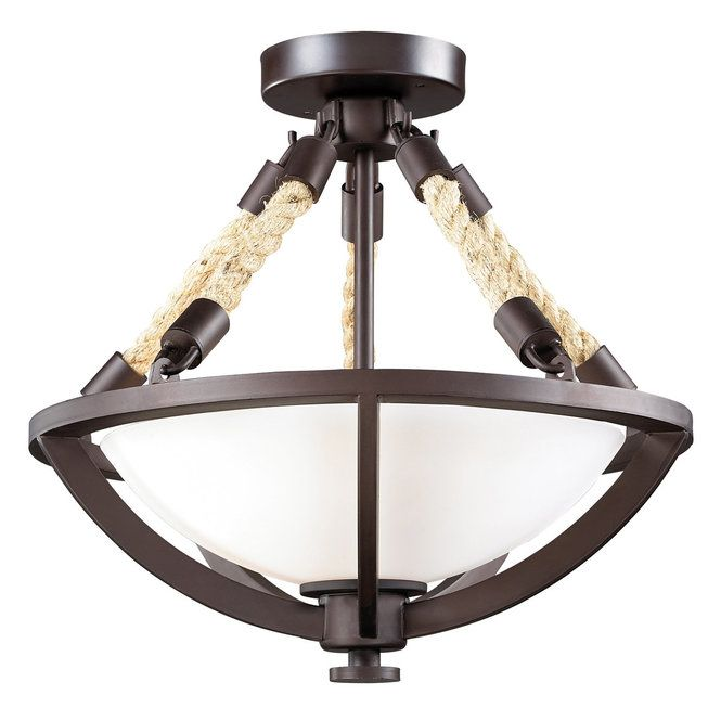 Boathouse Nautical Rope Semi Flush Ceiling Light Aged Bronze