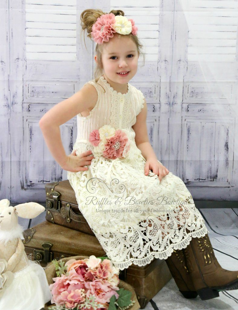 255aa5c0b Lace Shabby chic dress.. All ingredients for you country western rustic flower  girl dress... Just add cowboy boots! Pin Sash & Headband not Included