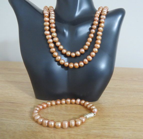 Golden peach Genuine freshwater pearl double strand by jewlerystar