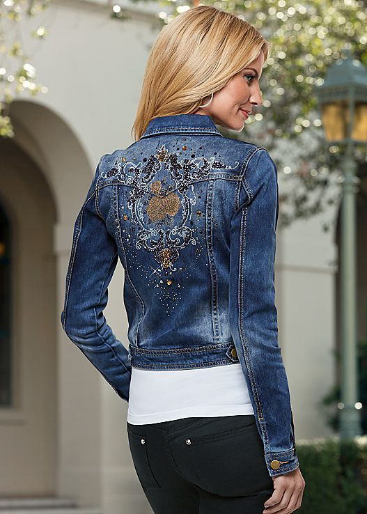 ce8703570a The jean jacket is back and better than ever! Venus embellished jean jacket  with Venus seamless cami.
