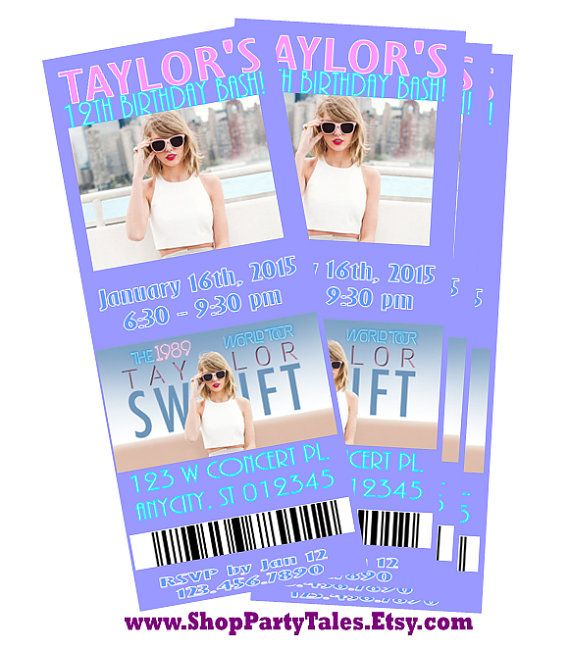 Taylor Swift 1989 World Tour 2015 Concert Ticket By Shoppartytales Taylor Swift Birthday Taylor Swift Party Ticket Invitation Birthday