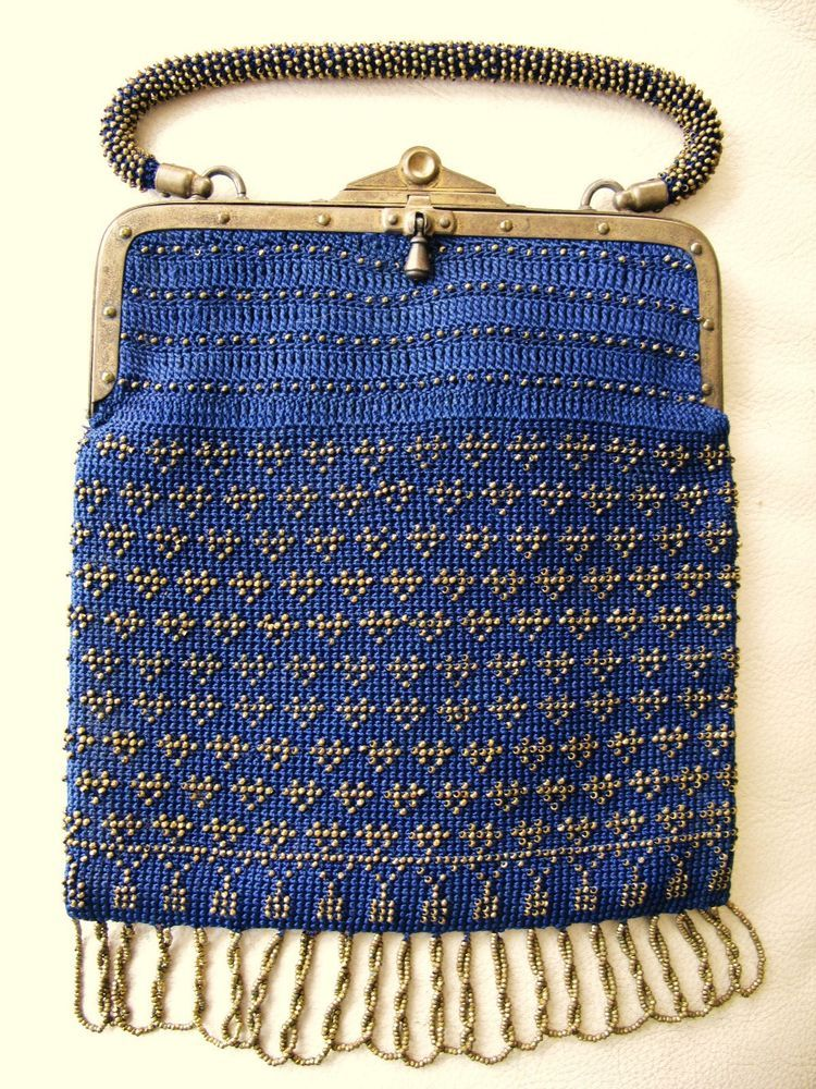 Antique Victorian Edwardian Frame Blue Crochet Gold Steel Beaded ...