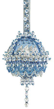 beaded blue ornaments
