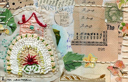 Stitched 1919 Postcard Collage by Kim Neumann...