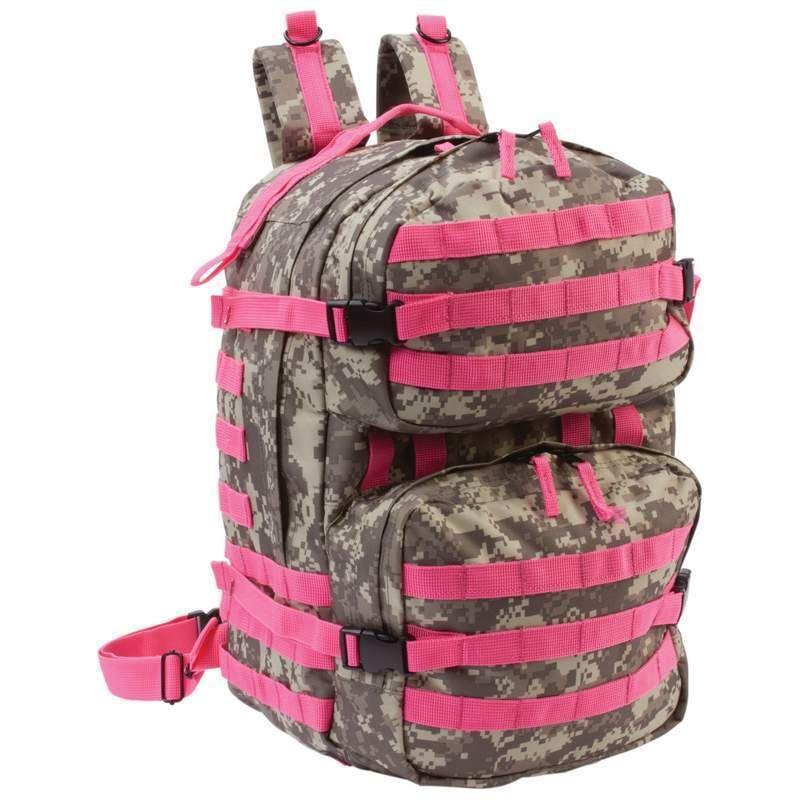 Heavy Duty Outdoor Tactical Camo Backpack Pink Womens Camp Hike School Bookbag