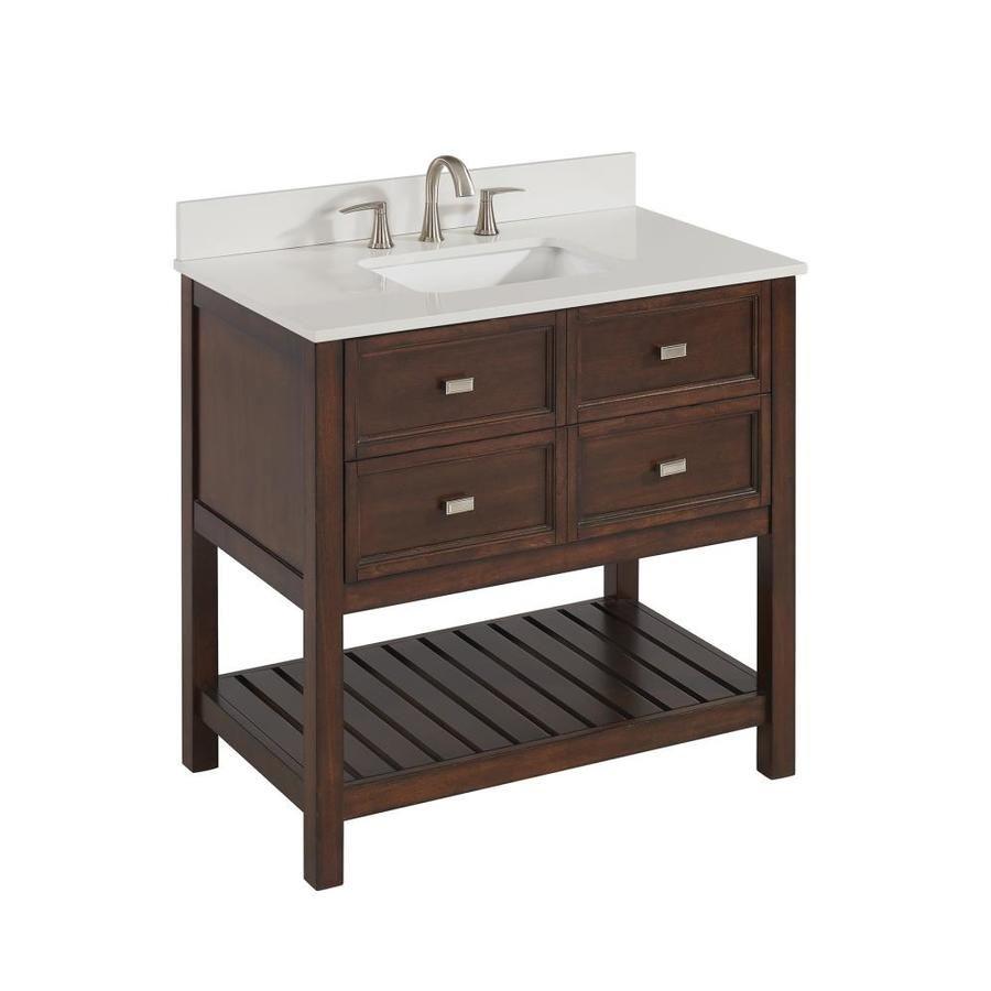 diy distressed bathroom vanity%0A Scott Living Canterbury Mahogany Undermount Single Sink Bathroom Vanity  With Engineered Stone Top  Common    In X   In