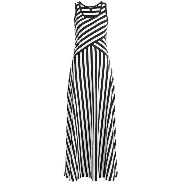 Dkny Striped Cotton Maxi Dress 195 Liked On Polyvore