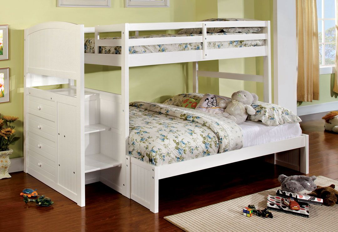 Appenzell white finish wood Twin over Full bunk bed with