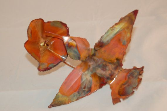 Copper Garden Art | HUMMINGBIRD GARDEN STAKE Copper garden art metal by PoffSculptures
