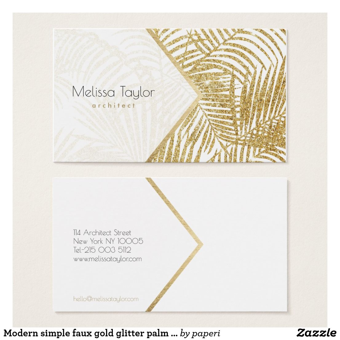 Modern Simple Faux Gold Glitter Palm Architect Business Card