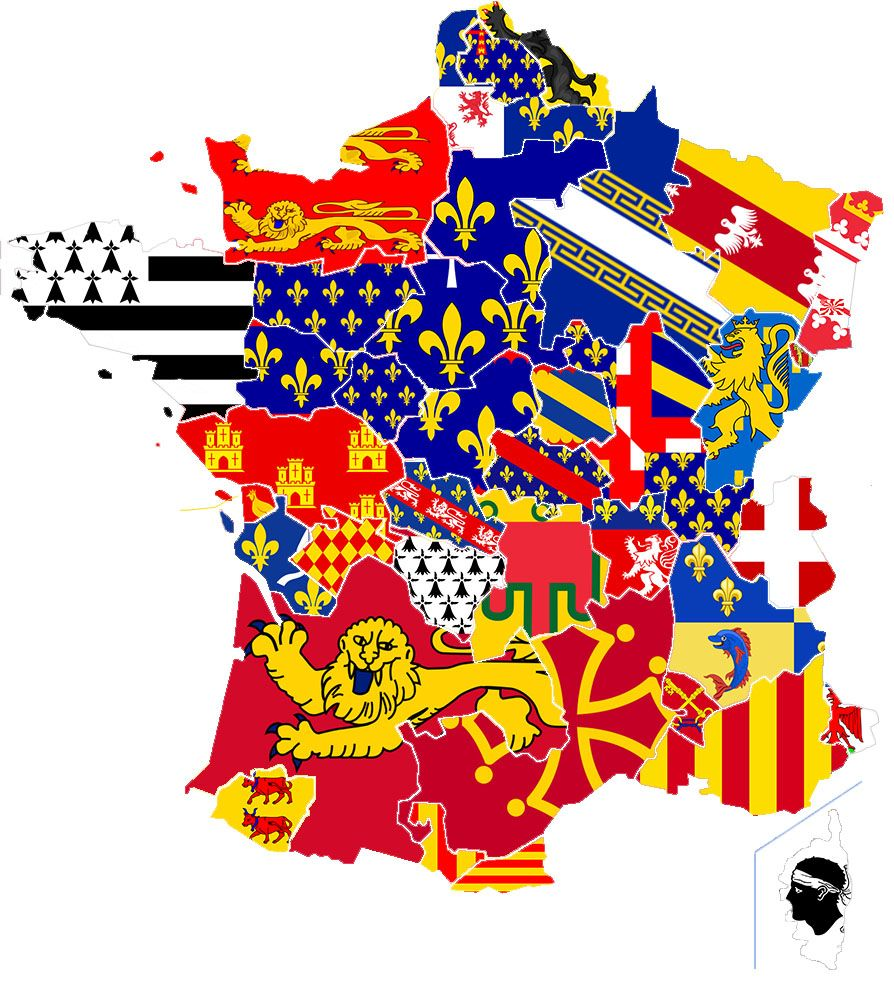 Areas Of France Map.Present Map Of France Filled With Flags Of Historic Areas Geo