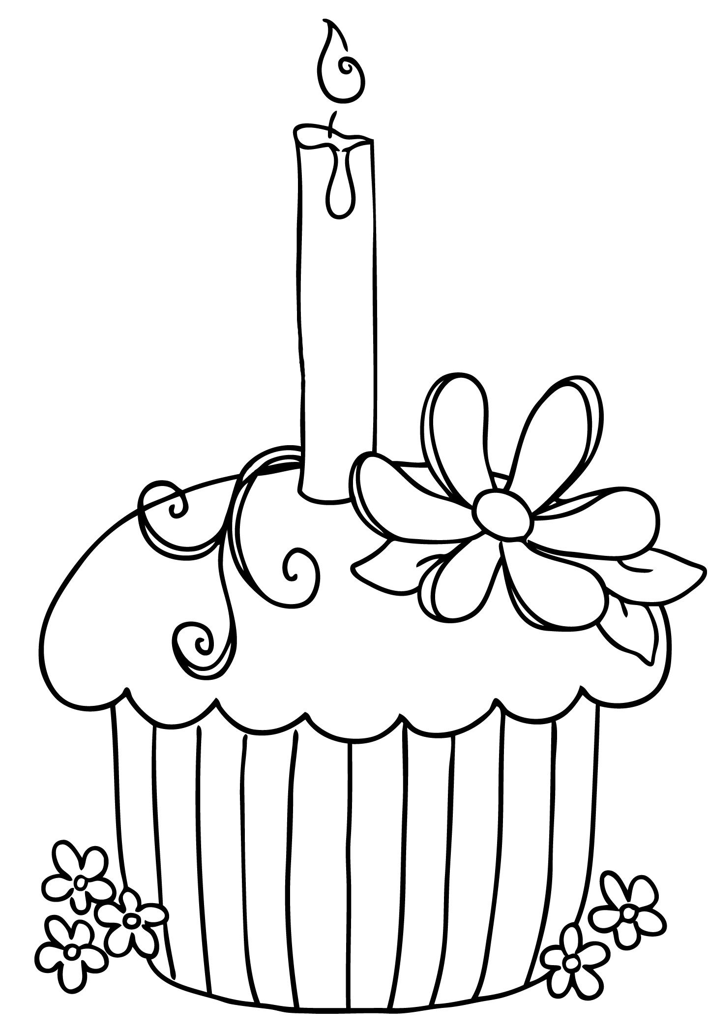 Cupcake with candle coloring pages birthday preschool theme
