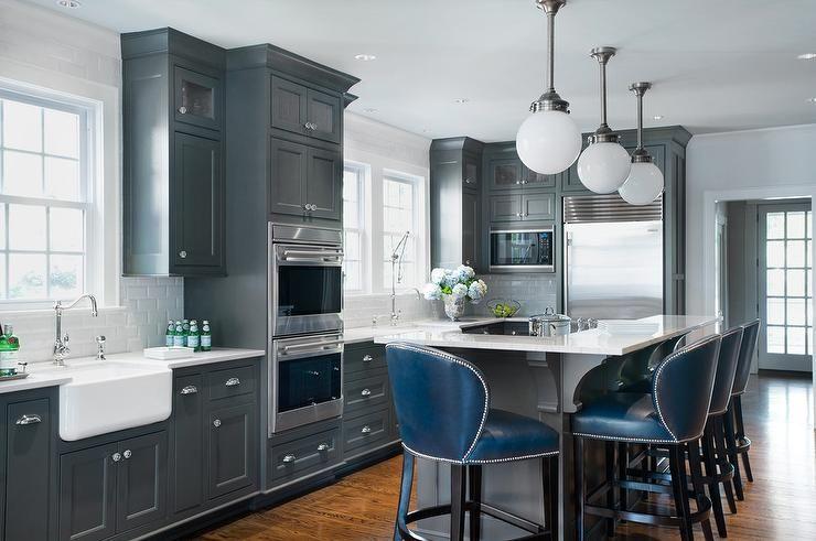 Dark Gray Kitchen Island With L Shaped Raised Breakfast Bar Contemporary Kitchen Porters Paint Gray Bro Grey Kitchen Cabinets Glossy Kitchen Grey Kitchen
