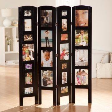 Memories Photo Frame Room Divider Black 4 Panel Separadores De