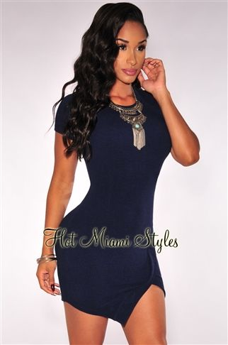Navy Blue Textured Un Even Hem Dress | Pinterest