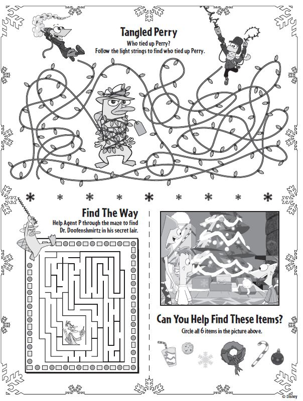phineas ferb christmas printable activities printables for kids free word search puzzles coloring - Kids Activity Printables