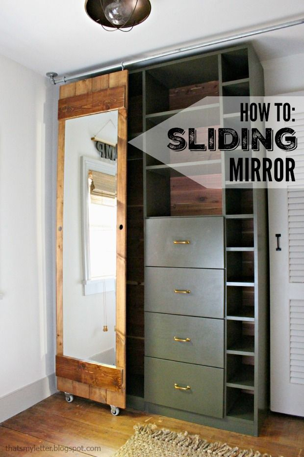 how to build a sliding mirror door diy bloggers to. Black Bedroom Furniture Sets. Home Design Ideas
