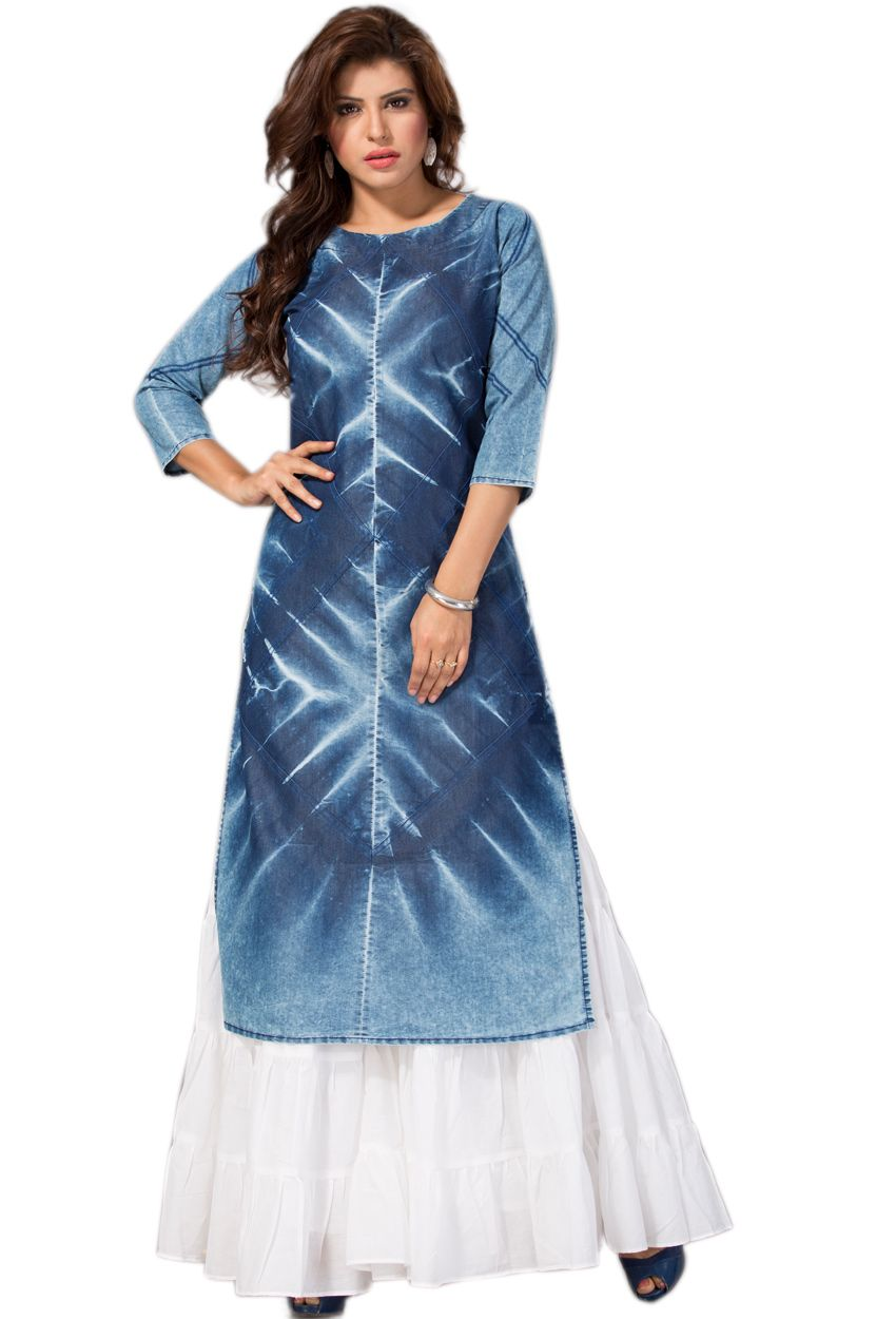 34e541c0e7 #Readymade #Blue #Denim #Ladies #Top #Kurti #nikvik #usa #designer # australia #canada #freeshipping #tunic