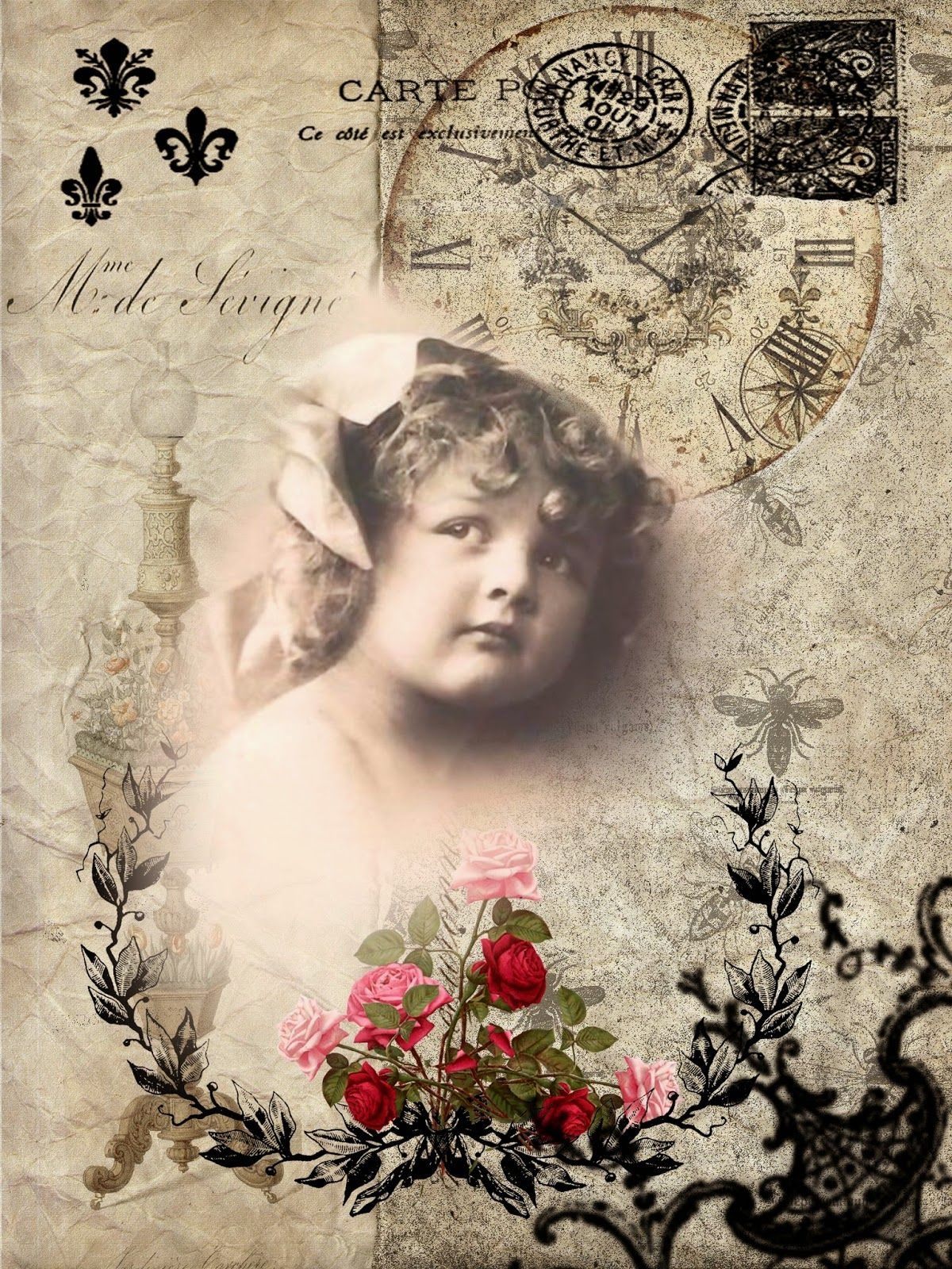 ALECRIM: Vintage picture of young girl with roses postmarks