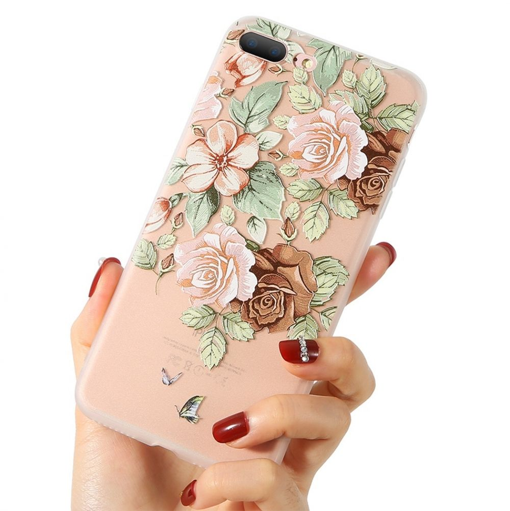 3D Relief Floral Patterned Soft Phone Case for iPhone