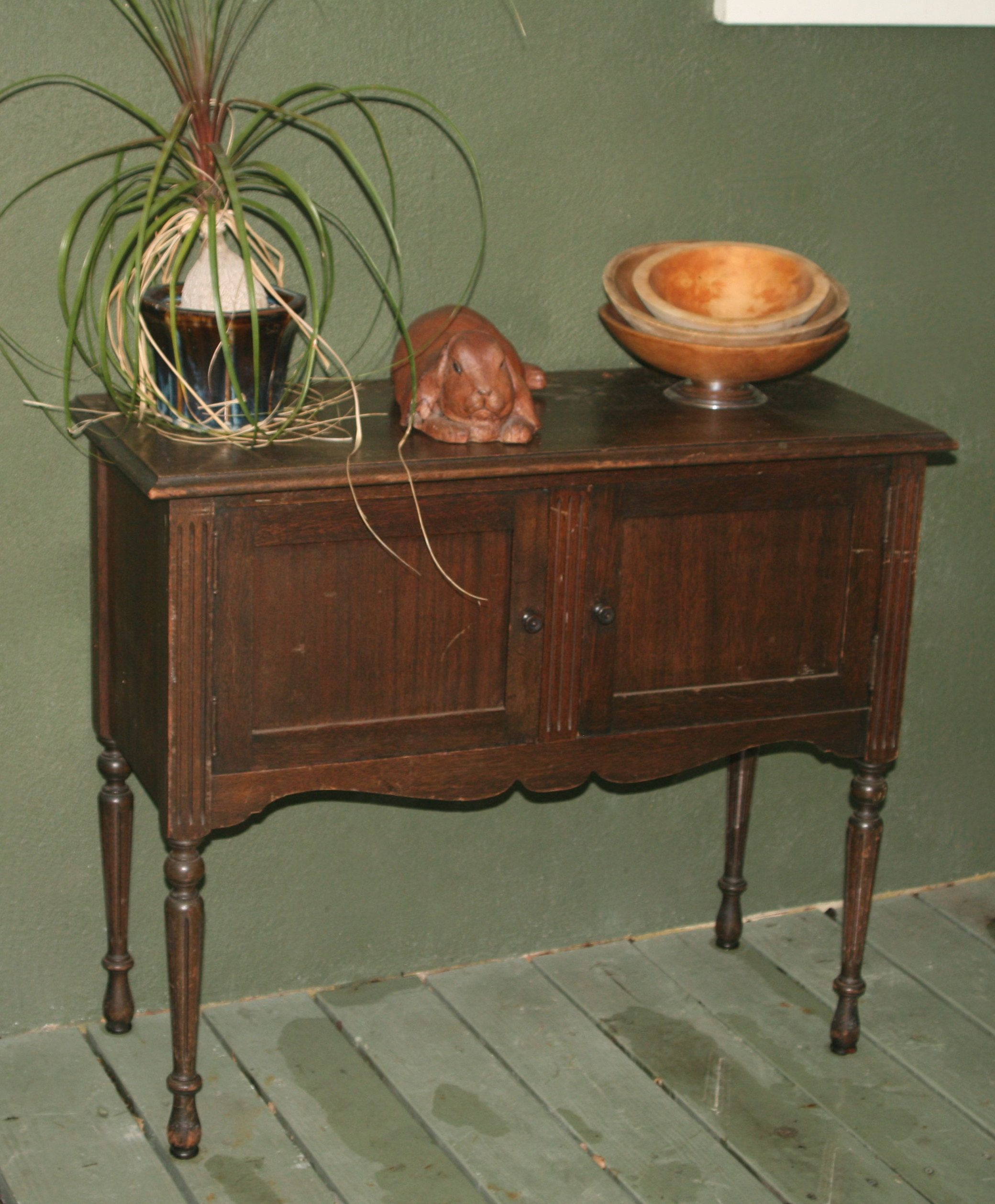 Small Wood Antique Buffet Table Cabinet