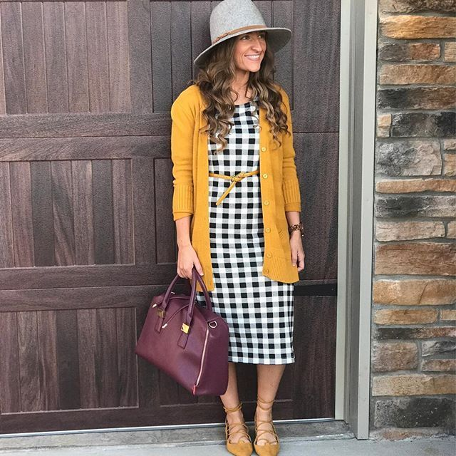 It's a beautiful Wednesday morning in Kentucky! The air a little cool....which leads me to daydreaming about pumpkins and hot chocolate.  I am wearing this beautiful @shopsignhere dress that is a perfect transition piece for Fall! It's so versatile and can be worn so many ways! I absolutely love it!  I paired it with mustard accessories (linking several options with @liketoknow.it ) and a pop of maroon with this amazing handbag! My bag is old but I'm linking a great one that's very si... #church #churchoutfitfall