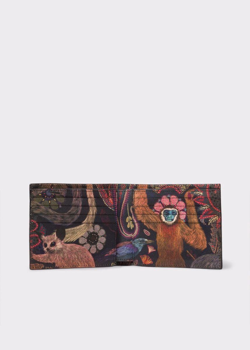 4e64dba544 PAUL SMITH Men s Black Leather  Monkey  Print Interior Billfold Wallet.   paulsmith
