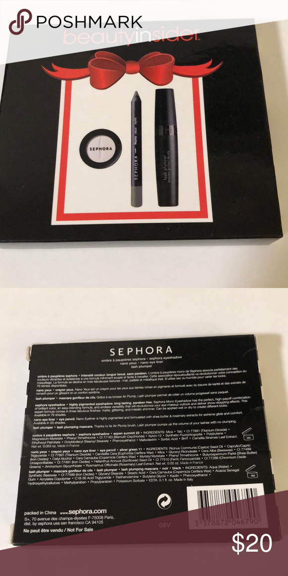 Sephora Eyeshadow, nano eye liner, lash plumper Perfect Sephora eye make up kit. Travel must have or everyday carry around in your purchase.