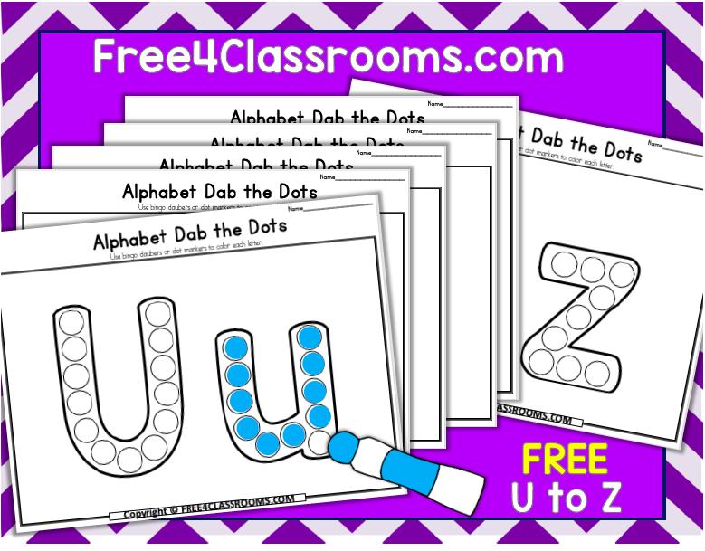Free Alphabet Dot Marker Worksheets Letters U to Z