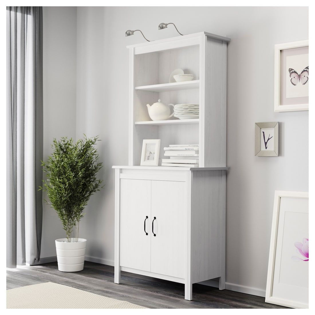 Brusali High Cabinet With Doors White 31 1 2x74 3 4 Glass Cabinet Doors Ikea Hemnes Cabinet Brusali