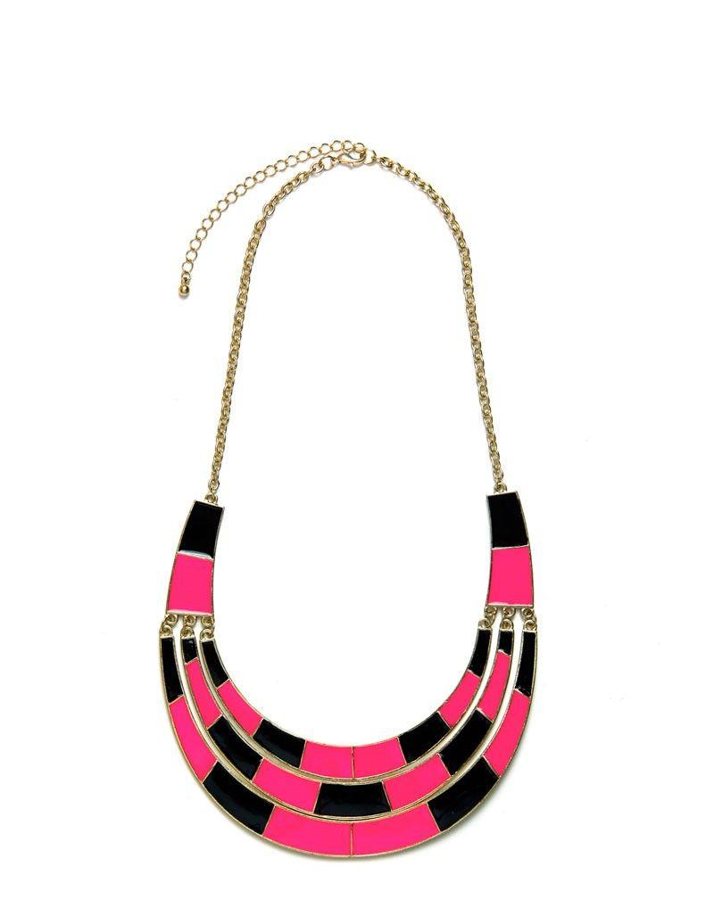 Harmony Black & Pink Visor Necklace