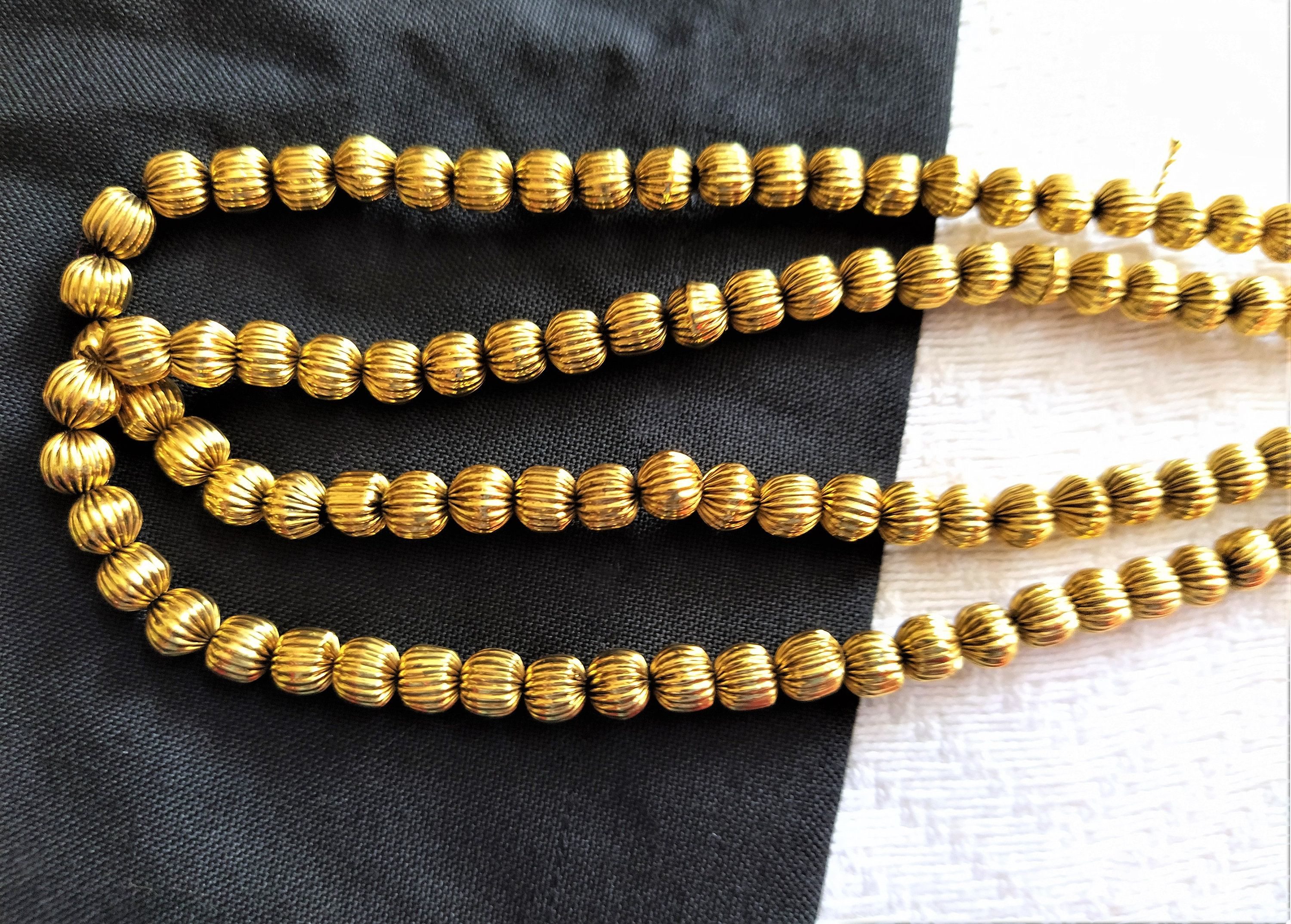 Antique Bronze Brass Corrugated Pear Beads pack of 20