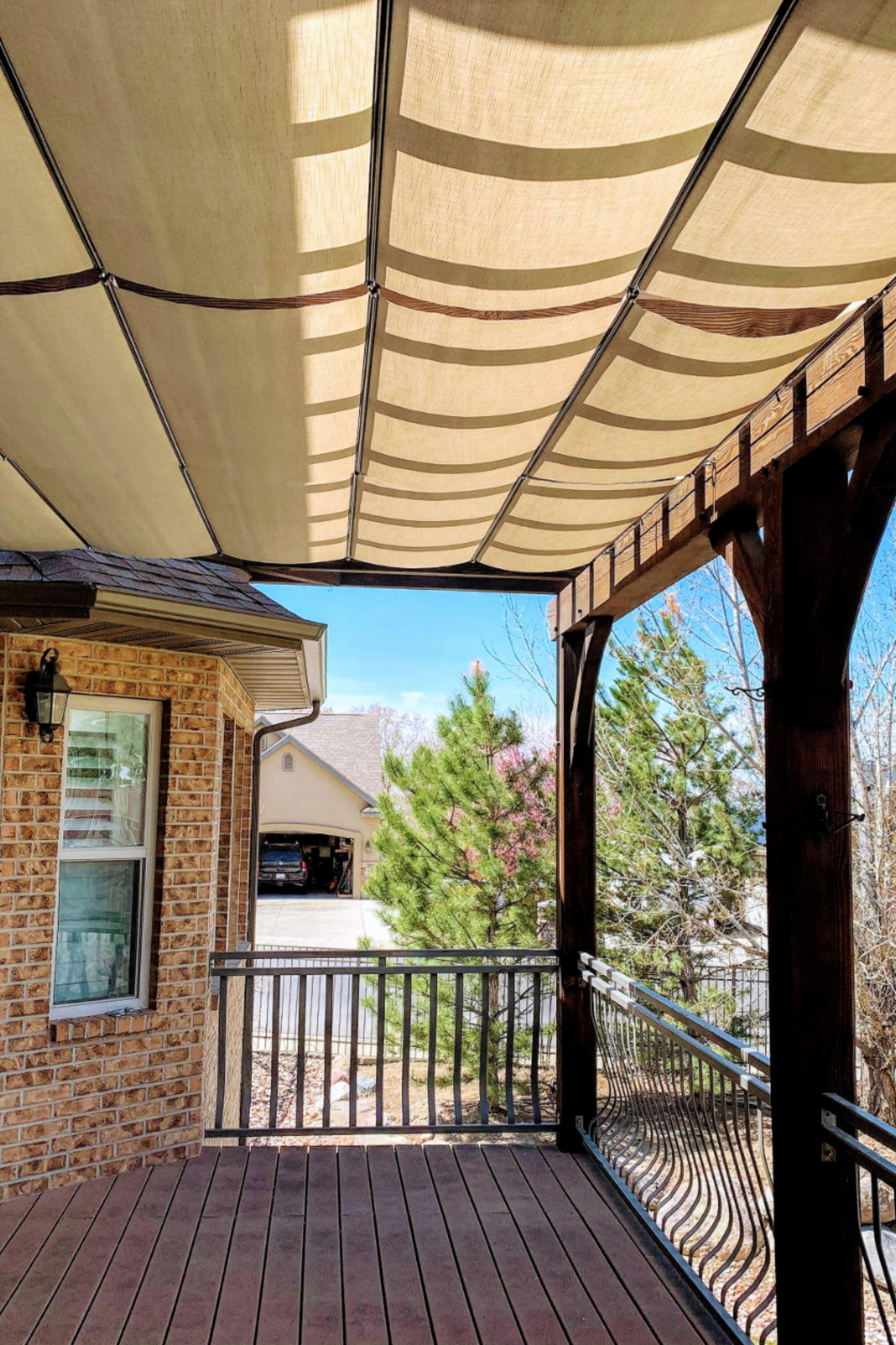 Waterproof Fabric Retractable Awnings On Backyard Balcony In 2020 Pergola Shade Cover Pergola Retractable Shade