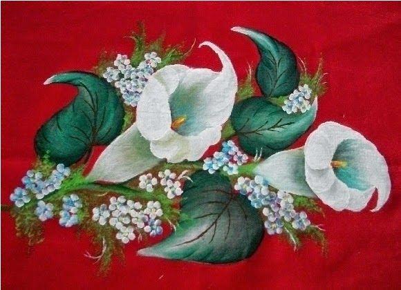 Vilma Varanda Pinturas  : Como pintar copo de leite em tecido vermelho.