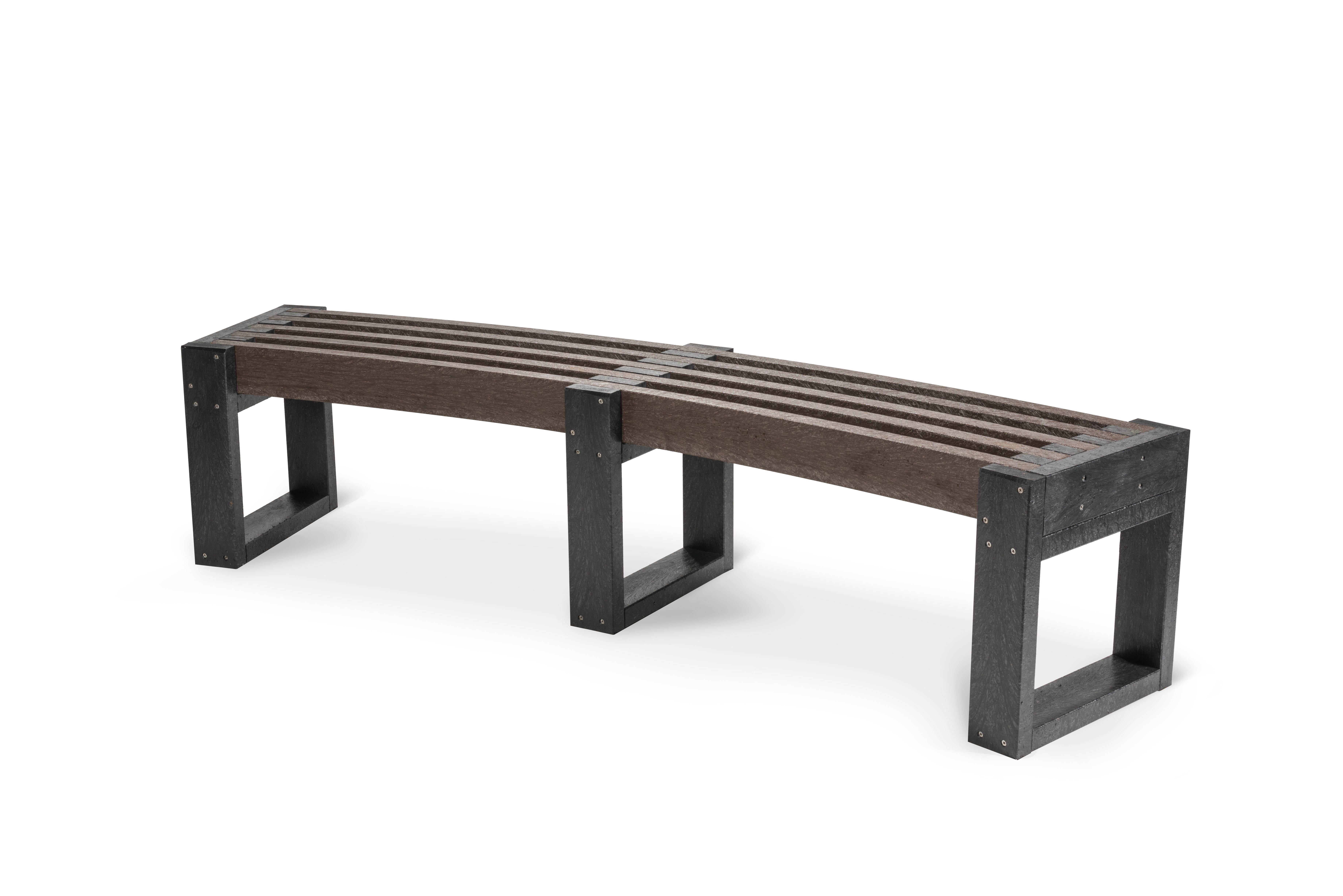 The Curved Bench Is Made From Durable Recycled Plastic And Is