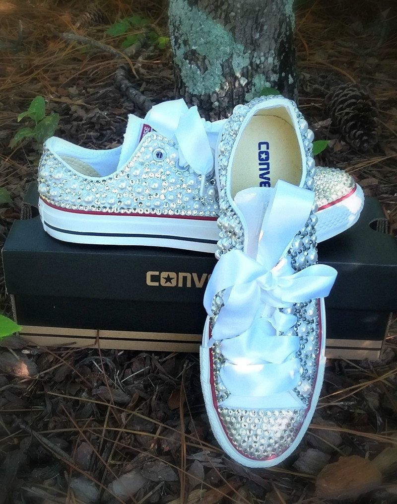 Pearl and Bling Custom Converse for Adults. Bling Shoes. Custom ...