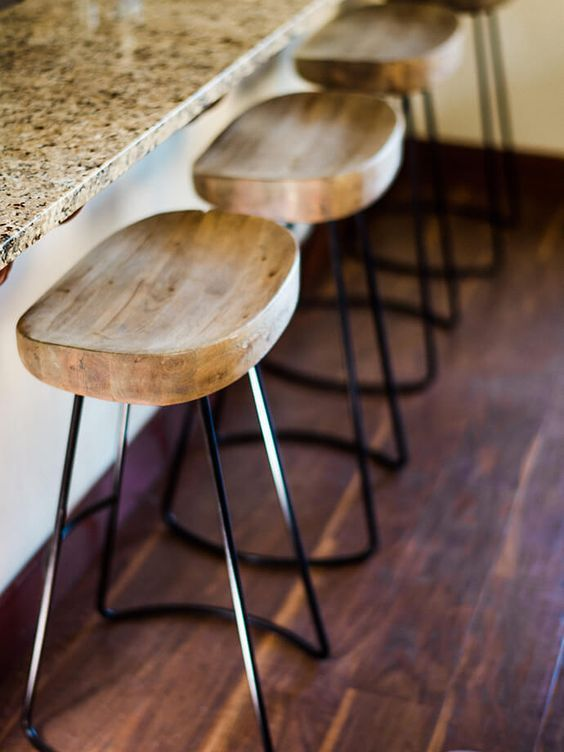 Step Inside The Rustic Boho Home Of Kennesha Buycks Rustic Bar Stools Iron Bar Stools Wood Bar Stools