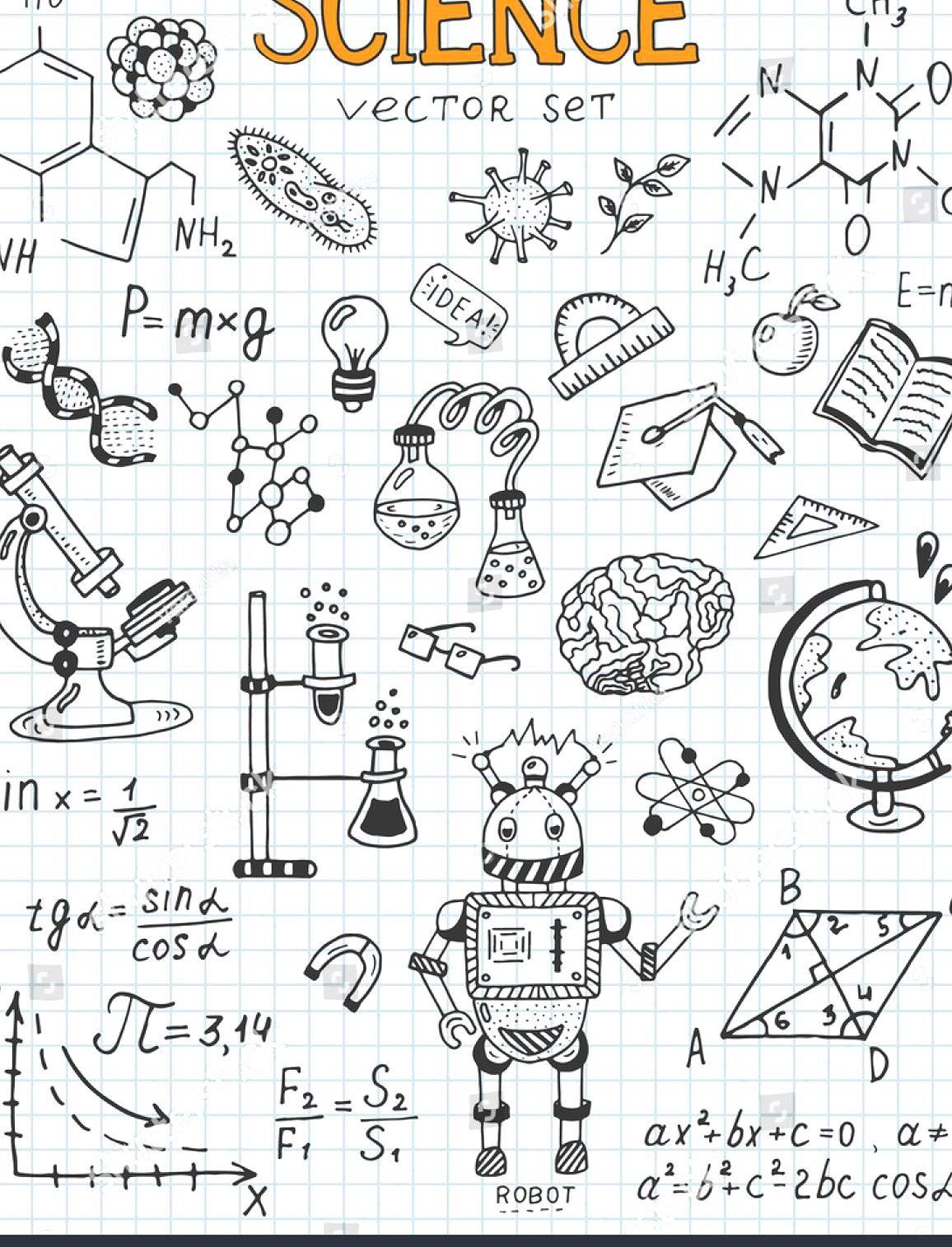 Science Education Doodle Set Of Biology Mathematics