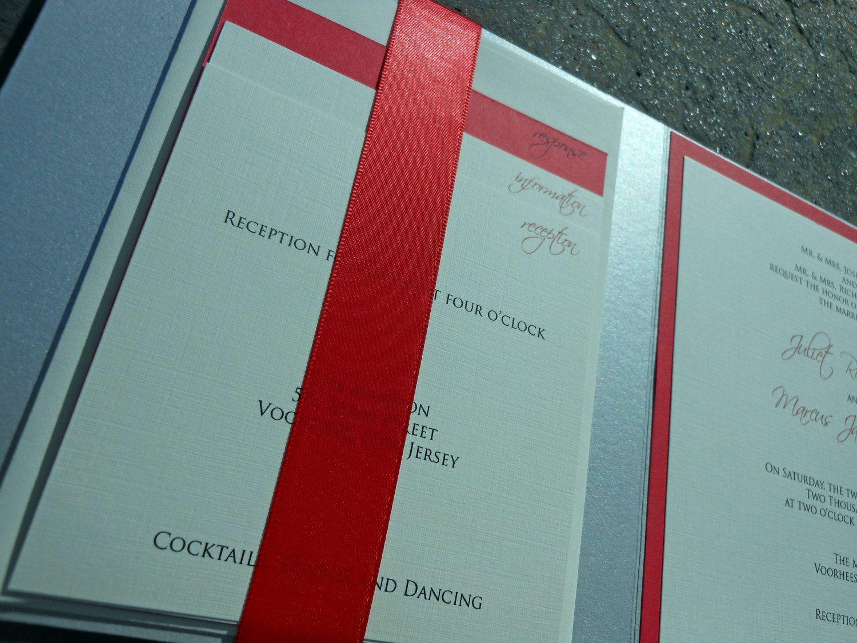 Ribbon Metallic Pocket Wedding Invitation - Silver and Red. $6.50 ...
