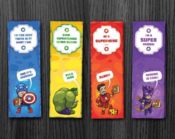 Superhero Bookmarks, Avengers Bookmarks, Hulk Bookmark, Ironman