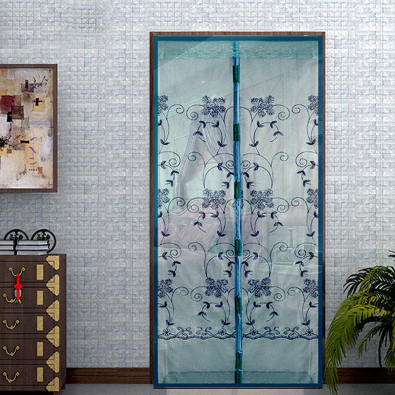 Honana WX-2 Noiseless Automatic Closing Door Curtain Magnetic Embroidered Flower Anti-mosquito Net & Honana WX-2 Noiseless Automatic Closing Door Curtain Magnetic ...
