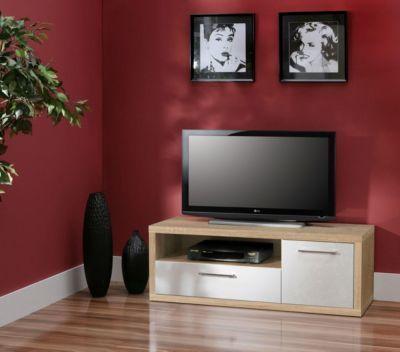 TV-Schrank Weiss Hochglanz   Sonoma Eiche Jetzt bestellen unter - schrank wohnzimmer weiß