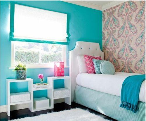 Wundervoll Farbgestaltung Fürs Jugendzimmer U2013 100 Deko  Und Einrichtungsideen    Vintage Modern Kombiniert Blau Farben Paisleymuster Tapeten