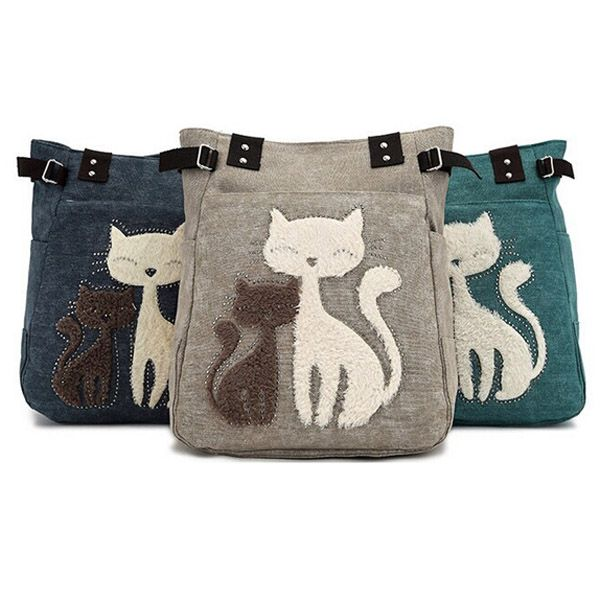 Women Canvas Handbag Cute Cat Shoulder Bag Totes | Cartoon, Shape ...