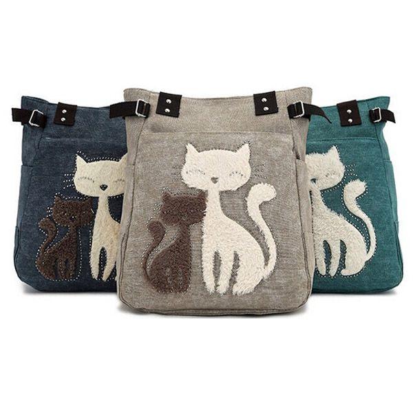 Women Canvas Handbag Cute Cat Shoulder Bag Totes | Cartoon, Shape ...
