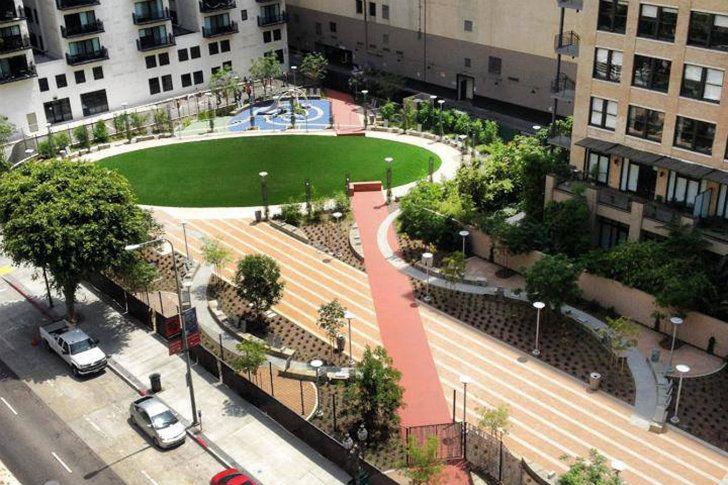 Spring Street Park Downtown LA Parking Lot Transformed