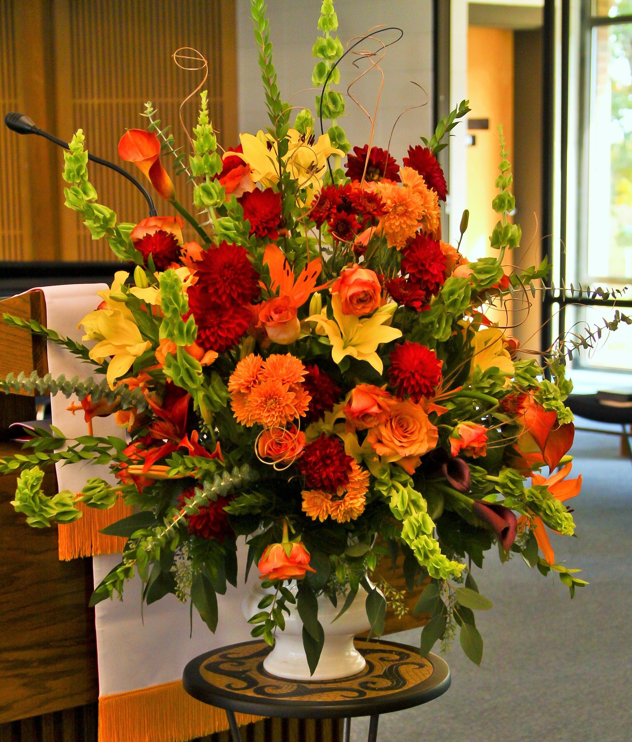 Fall Wedding Ceremony Flowers Mixed Yellow, Orange and