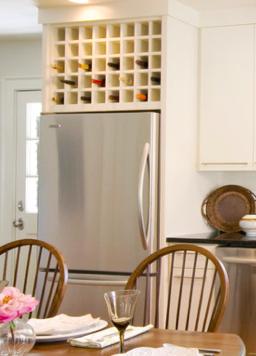 kitchen cabinet - storage - above refrigerator - wine rack