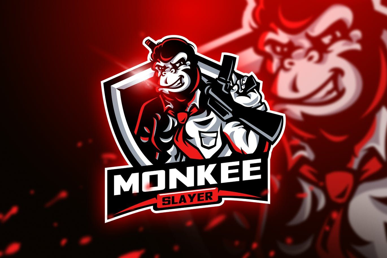 monkee slayer mascot esport logo template ai eps sports team