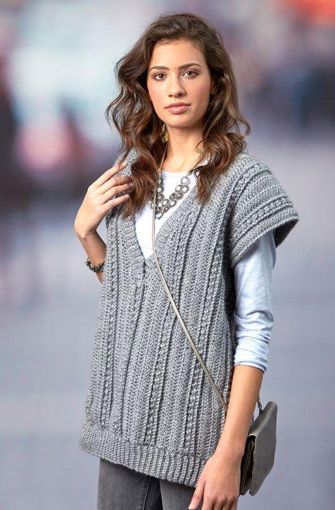 Free Deep Vee Vest Crochet Pattern from www.RedHeart.com | Crocheted ...